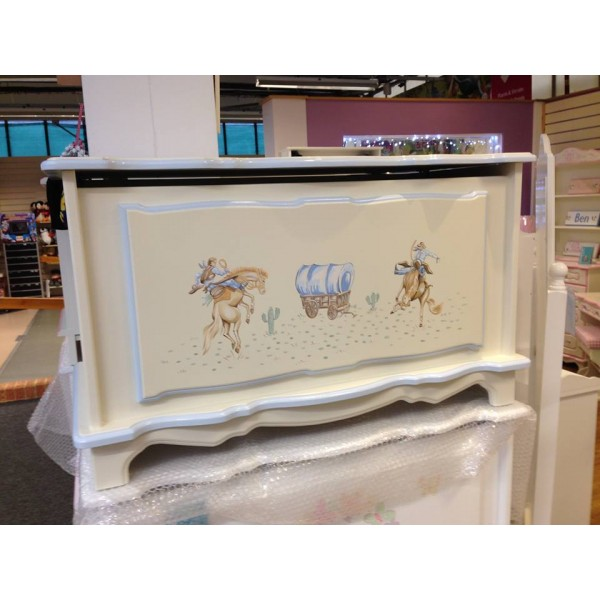 Cowboy Personalised Toy Box In Blue