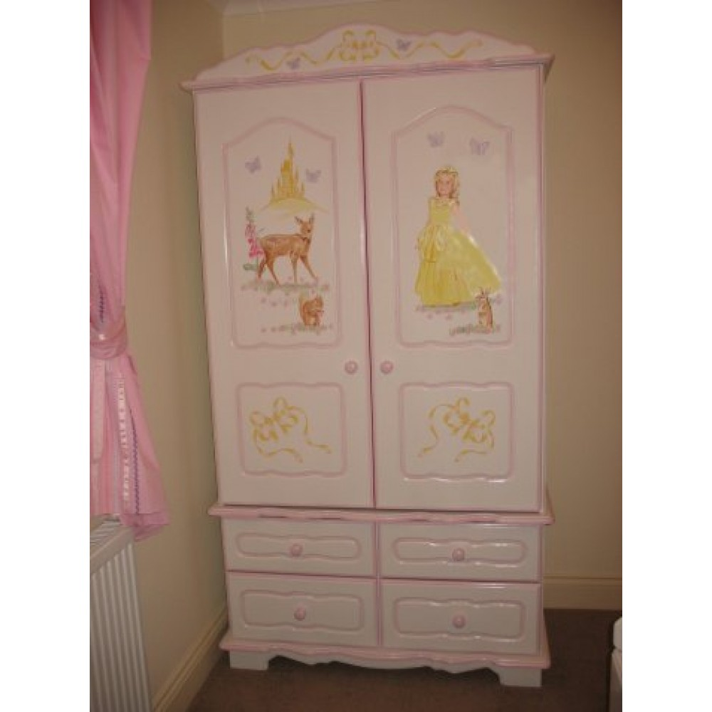 Girls Wardrobe 2 Door 4 Drawer Princess