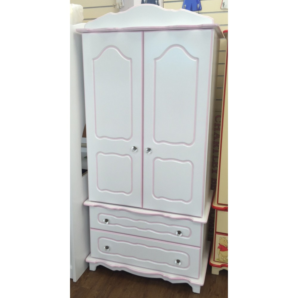 Chartley Wiggly White Wardrobe With Crystal Knobs