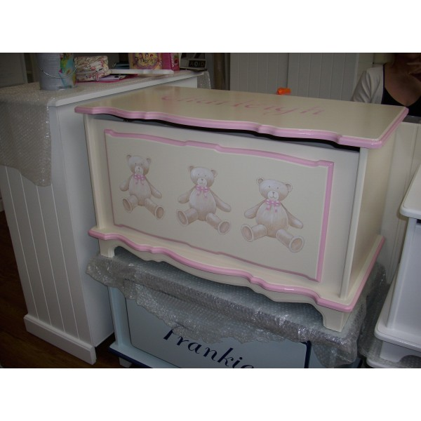 Toybox With 3 Bears Pink Trim Colour 3ft