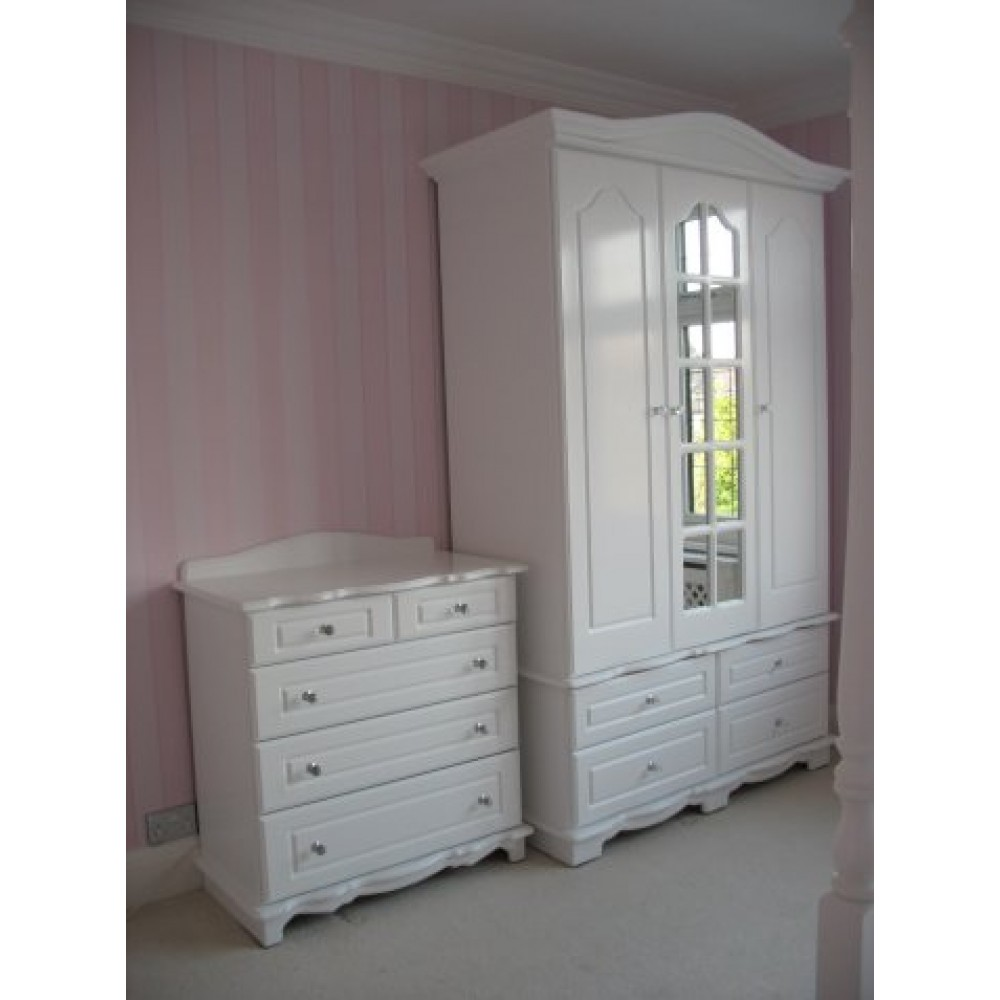 White Wardrobe With Swept Head Crystal Knobs