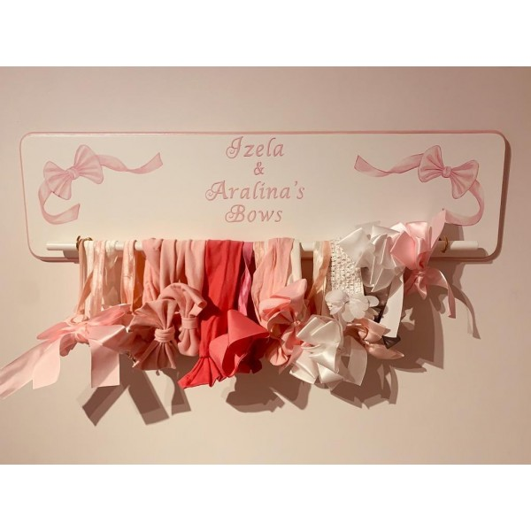 Personalised Hair Bow Hanger With Hand Painted Bows