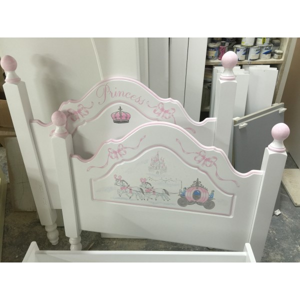 Princess Bed With Carriage Hand Painted Artwork
