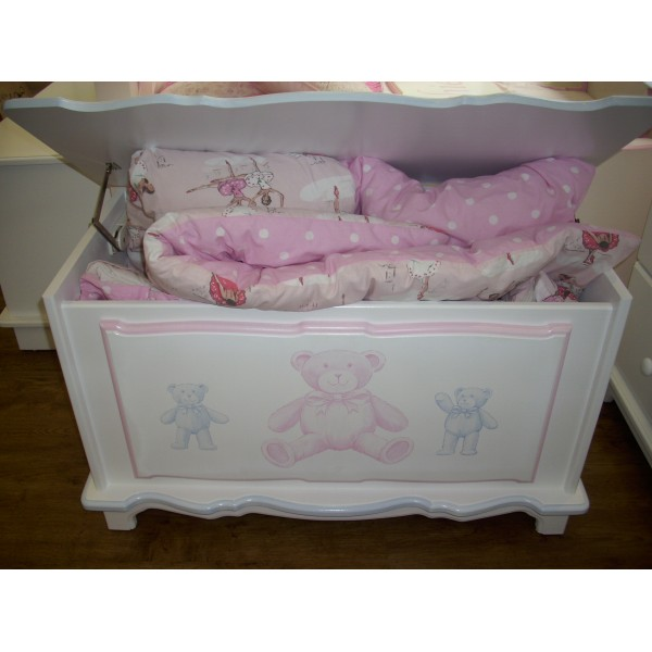 Toy Box White With Pink & Blue Bears