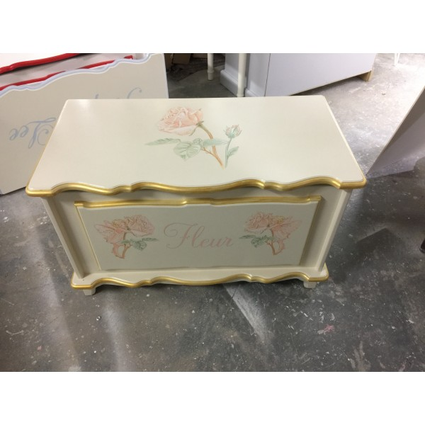 Toy Box With Peach Roses Off White And Pale Gold