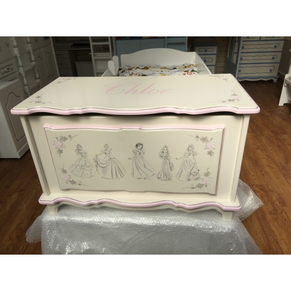 Toy Box 3ft With Sketched Hand Painted Artwork Inc. Lid