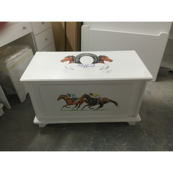 Toy Box With Racing Horses & Crest