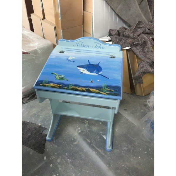 Desk With Flap & Stool Deep Blue Sea