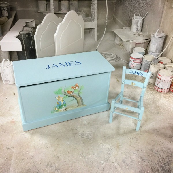 Toy Box 3ft Blue With Peter Rabbit Plain Style