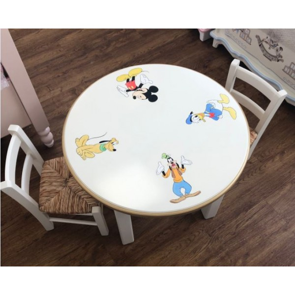Round Toddler Table & 2 Solid Seated Chairs