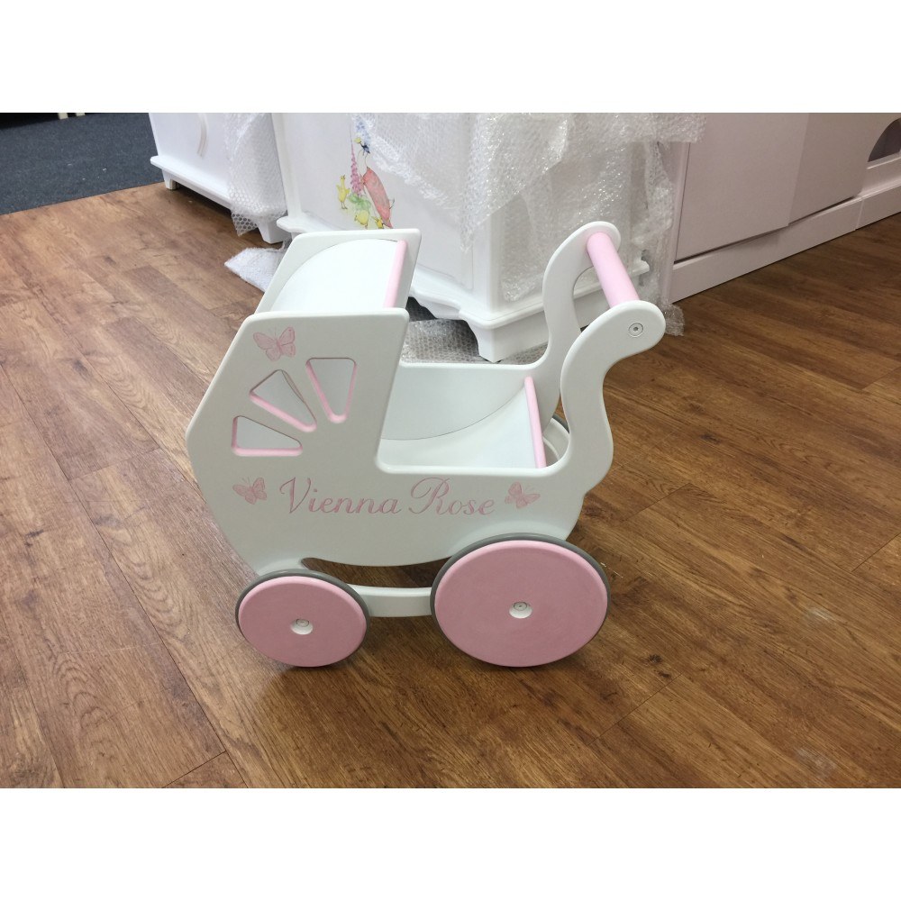 Dolls Pram Wooden With Simple Added Art And Name