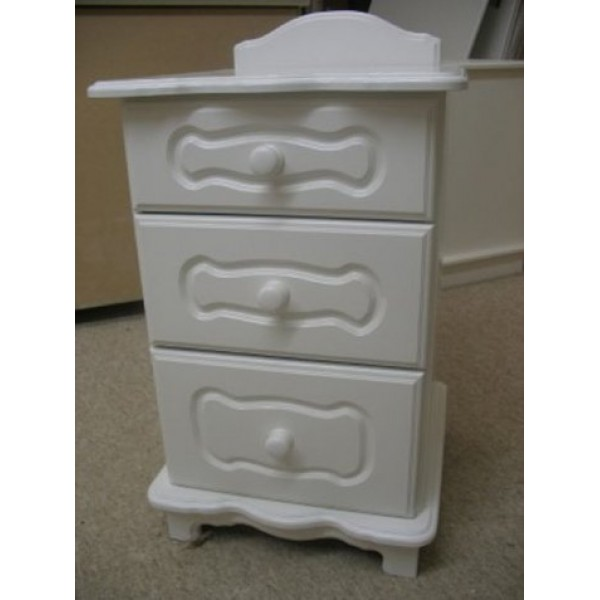 Bedside 3 Drawers Chartley Style White Inc. Plinth