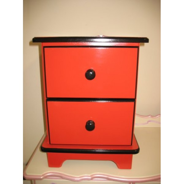 Bedside Unit 2 drawers Red & Black Matches Bus