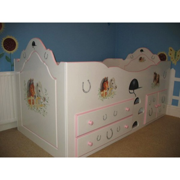 Cabin Bed Pretty Ponies 3ft Drawers & Cupboards