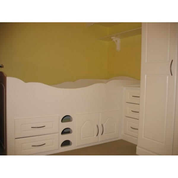 Cabin Bed Joined To Fitted Wardrobe