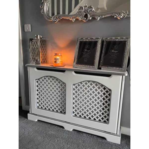 Radiator Cover White And Silver Bespoke
