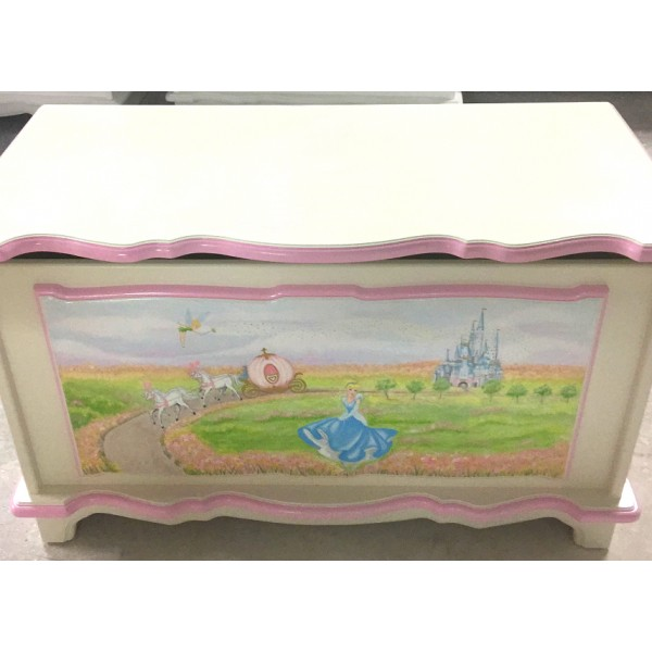 Personalised Toy Box With Hand Painted Castle Scene