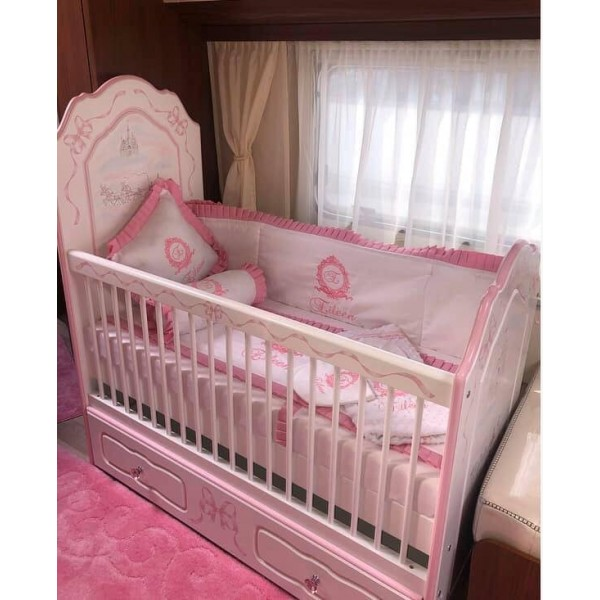 Bespoke Small Cot Made For A Princess In Pink