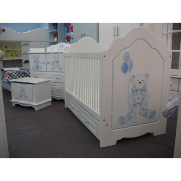 Cot Bespoke Hand Painted With Blue Bears