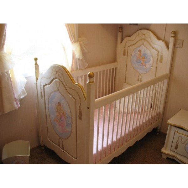 Customised Cot With Posts & Cherubs