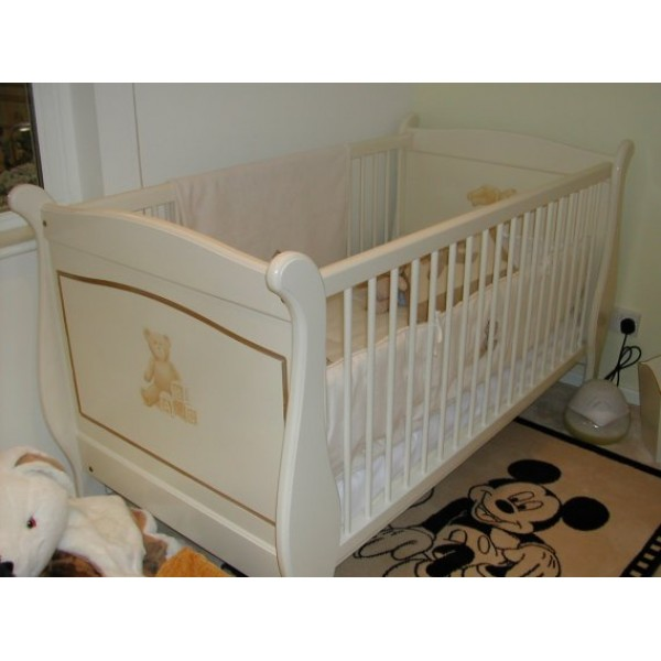 Cot Sleigh Off-White & Gold