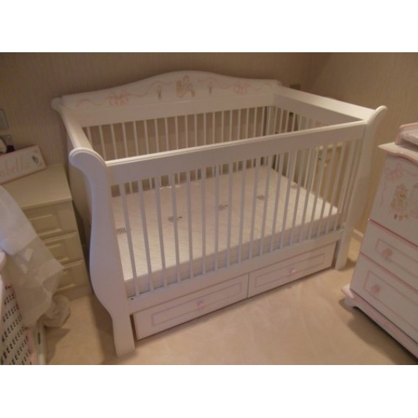 Handmade Sleigh Cot With Rails All Round