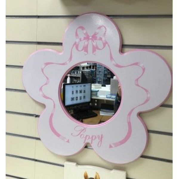 Mirror Daisy With Name & Ribbons