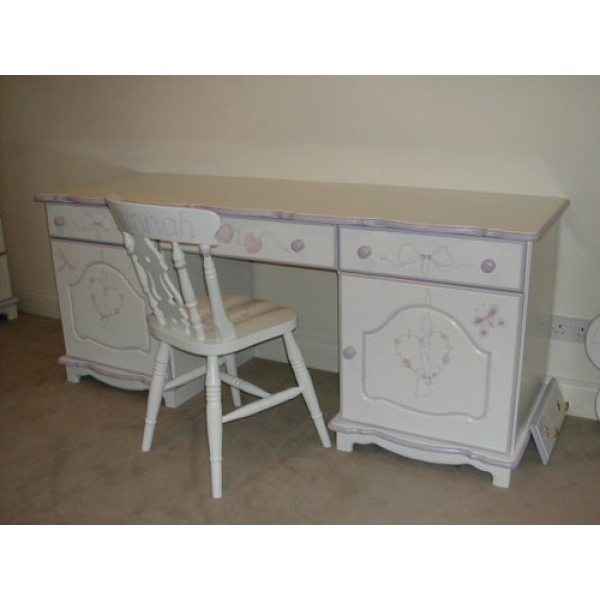 Deep Desk With Cupboards Flowery Hearts