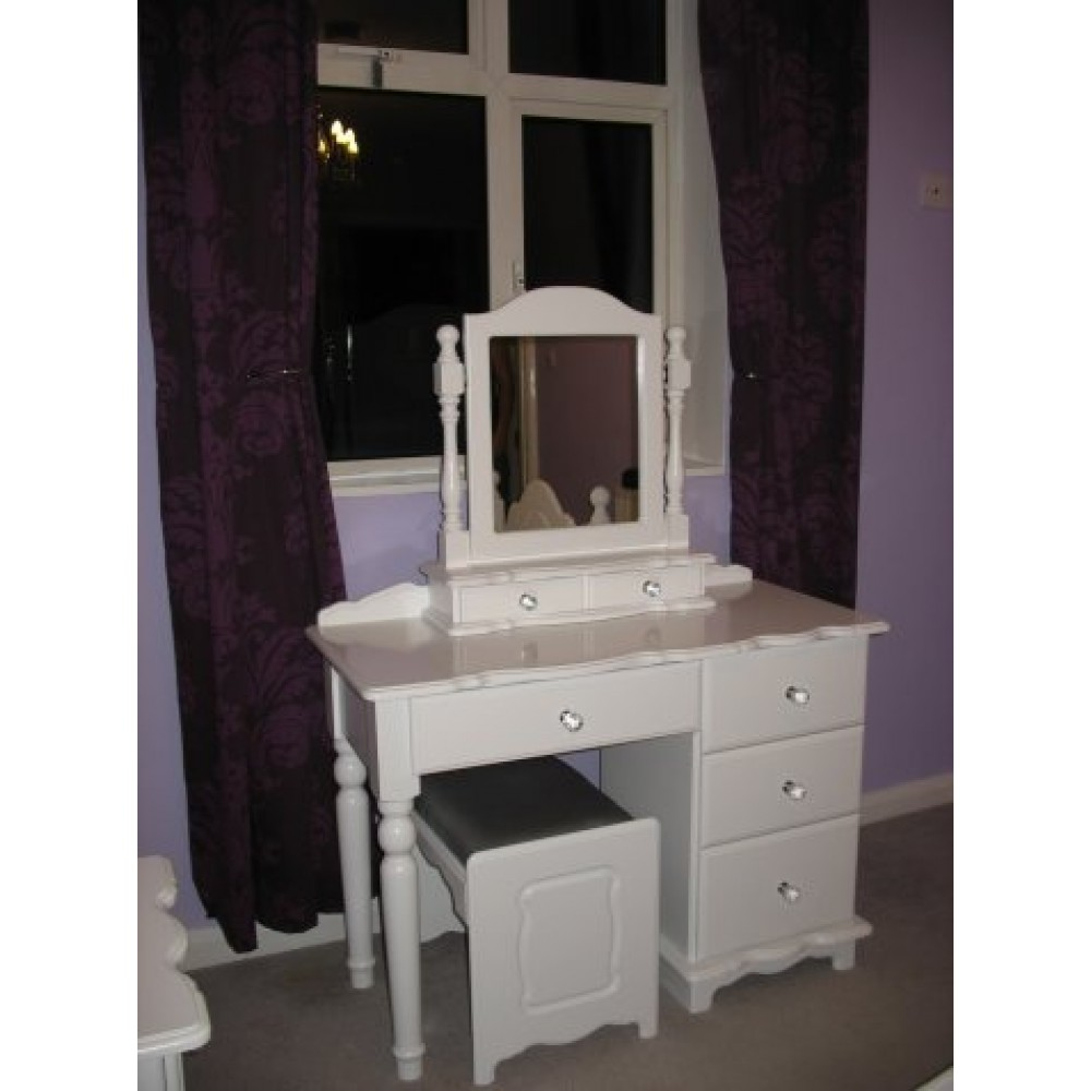Dressing Table White Inc Crystal Knobs With Stool And Mirror