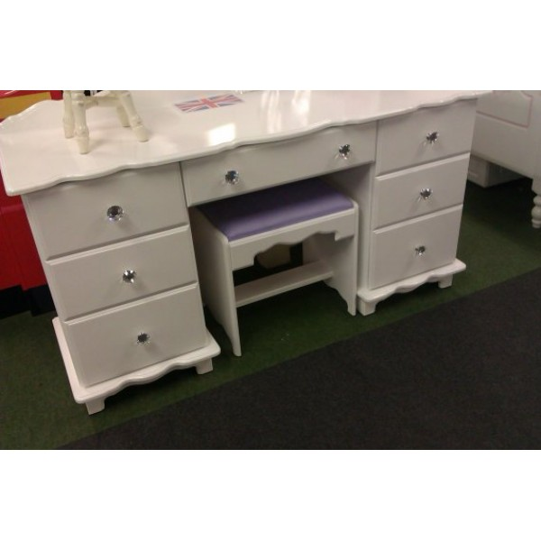 Dressing Table White With Crystal Knobs 7 Drawer