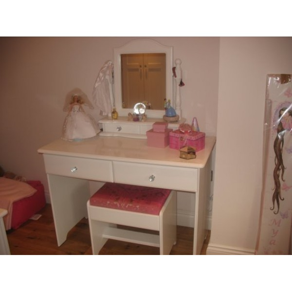 Dressing Table/Desk With Crystal Knobs & Padded Stool