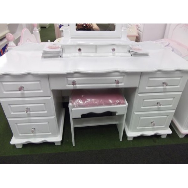 White Dressing Table Pink Crystal Knobs