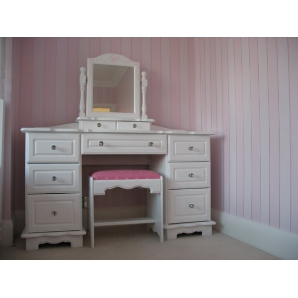 Dressing Table With Stool & Mirror & Crystals