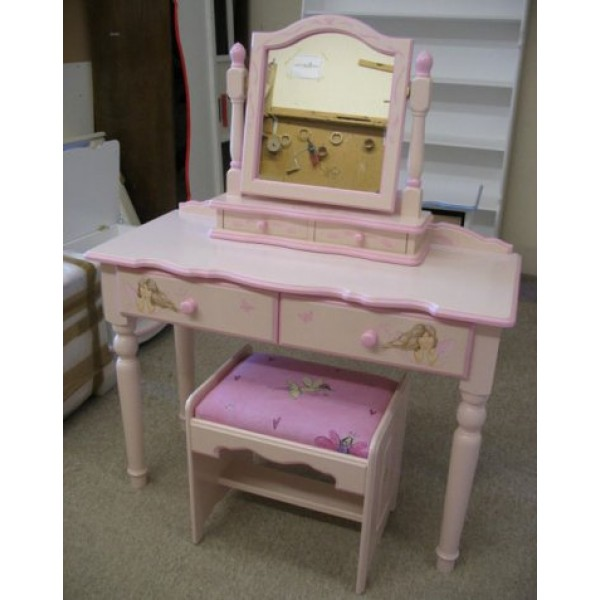 Two Drawer Dress Table, Stool & Mirror