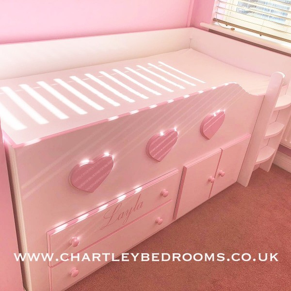 Low Cabin Bed With Hearts And Raised Ladder