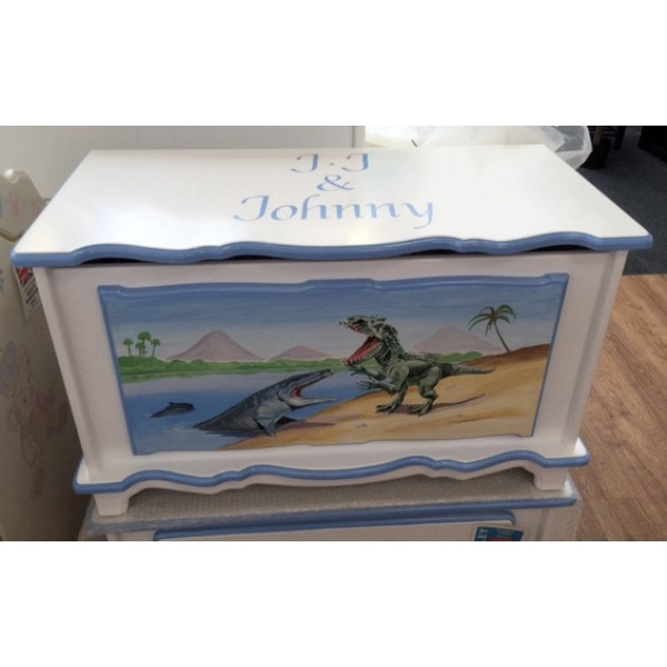Personalised Dino Toy Box 3ft White With Blue Edging
