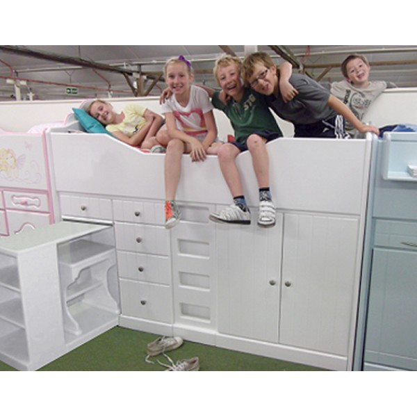 High Sleeper Cabin Bed with Flat Ladder, Storage, Desk and Stool