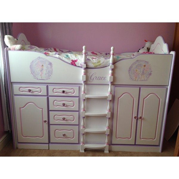 High Sleeper Cabin Bed Fancy with Part Artwork, Storage, Desk and Stool