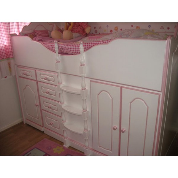 High Sleeper Cabin Bed Fancy Plain with Storage, Desk and Stool