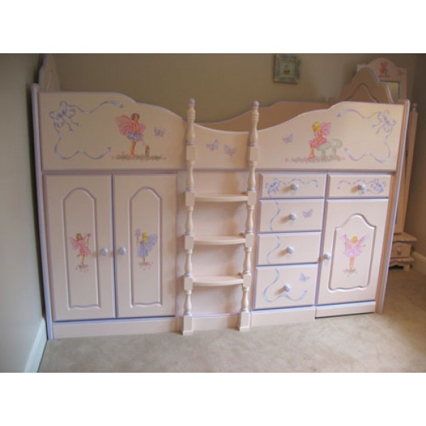High Sleeper Cabin Bed White and Lilac with Full Artwork