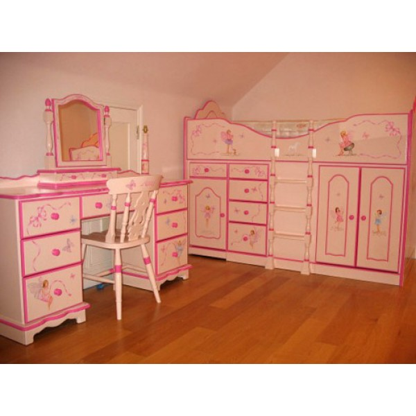 High Sleeper Cabin Bed Pink and Cerise with Hand Painted Fairies