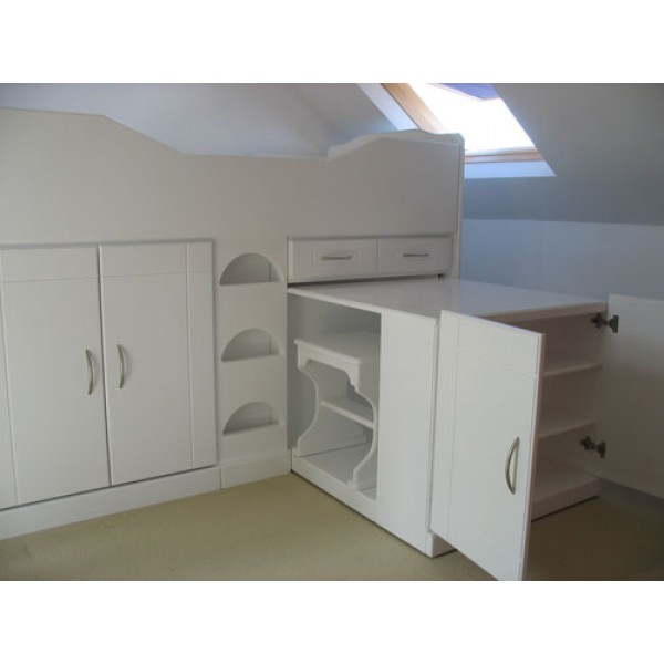 High Sleeper Cabin Bed With Extra Large Desk - Room For PC!