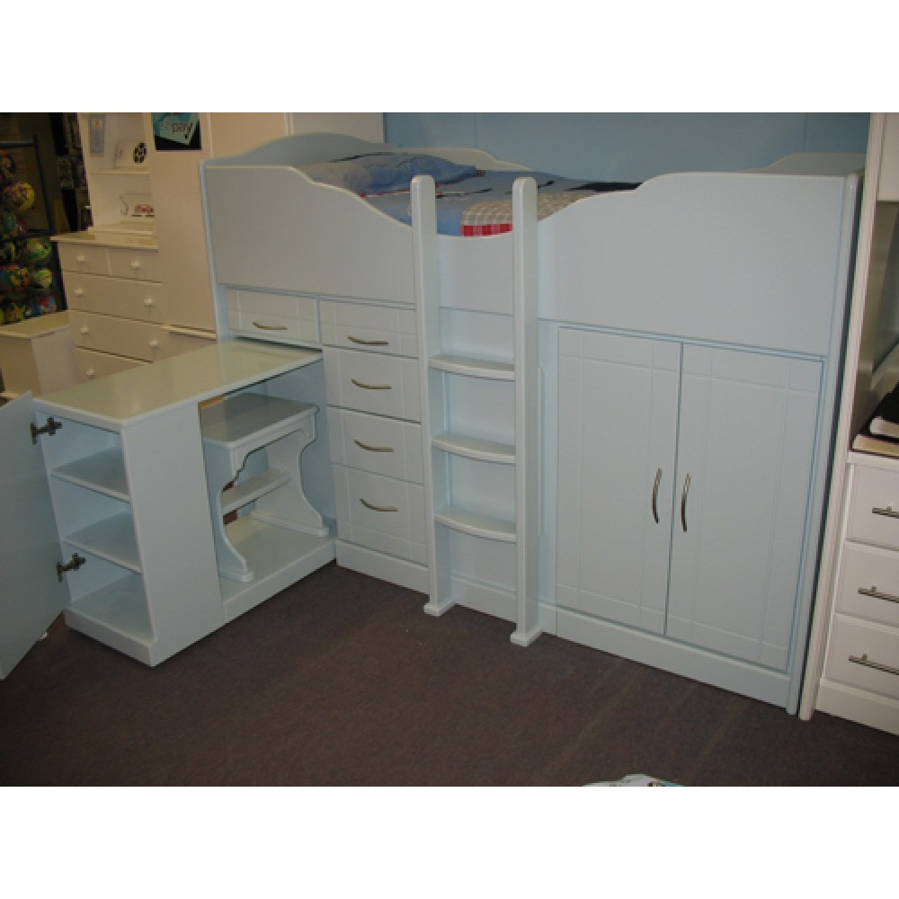 High Sleeper Cabin Bed With Raised Ladder Storage Desk