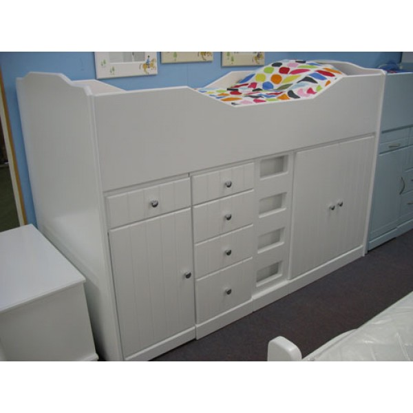 High Sleeper Cabin Bed with Square Flat Ladder, Storage, Desk and Stool
