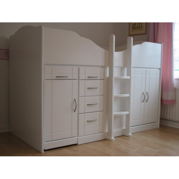 High Sleeper Cabin Bed with Raised Ladder, Pull-Out Desk and Stool