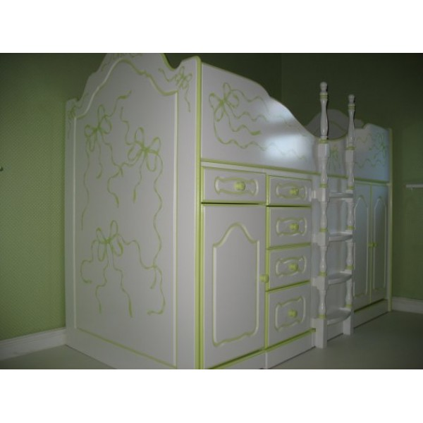 High Sleeper Cabin Bed White and Green Ribbons