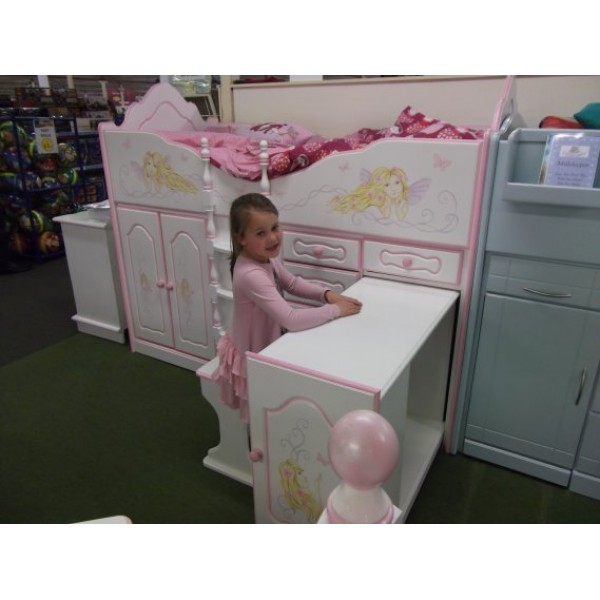 High Sleeper Cabin Bed Fancy with Fairy Artwork, Storage, Desk and Stool