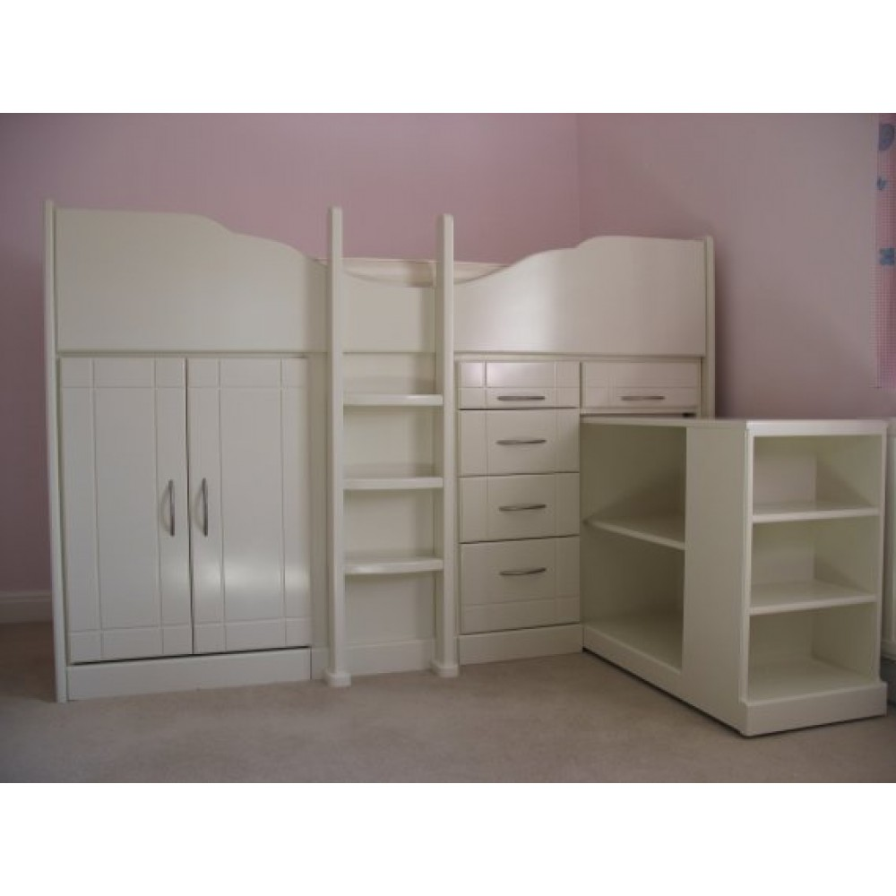 Bookshelf Storage Chest Kids Toy Box Plastic Play Room: High Sleeper Cabin Bed Storage Bed With Pull-Out Bookcase