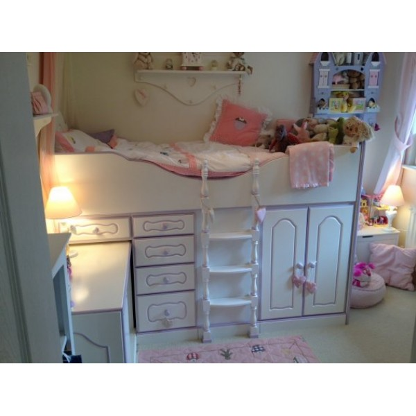 Small Box Room Cabin Bed For Grandma: High Sleeper Cabin Bed Fancy With Storage, Desk And Stool