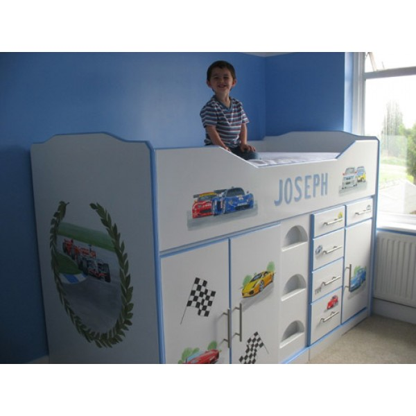 High Sleeper Cabin Bed Hand Painted Grand Prix For Joseph